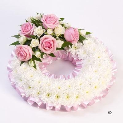 Traditional Wreath   White and Pink *