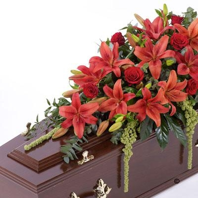 Lily and Rose Casket Spray   Red *